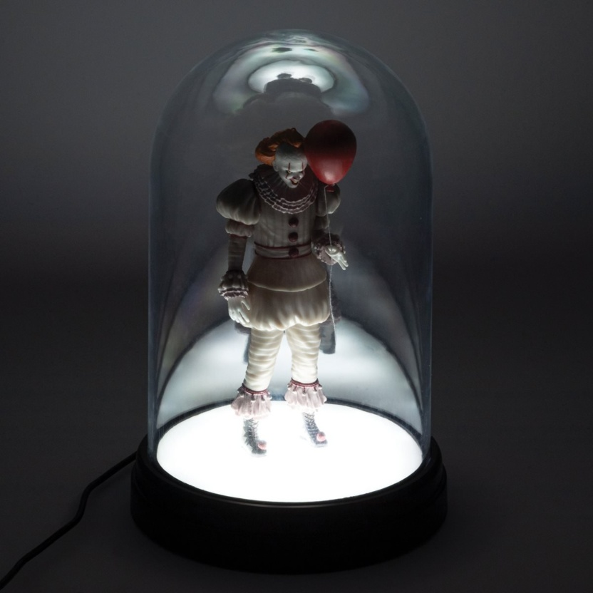 IT Pennywise Bell Jar Light - USB powered LED lit Pennywise in clear dome lighted