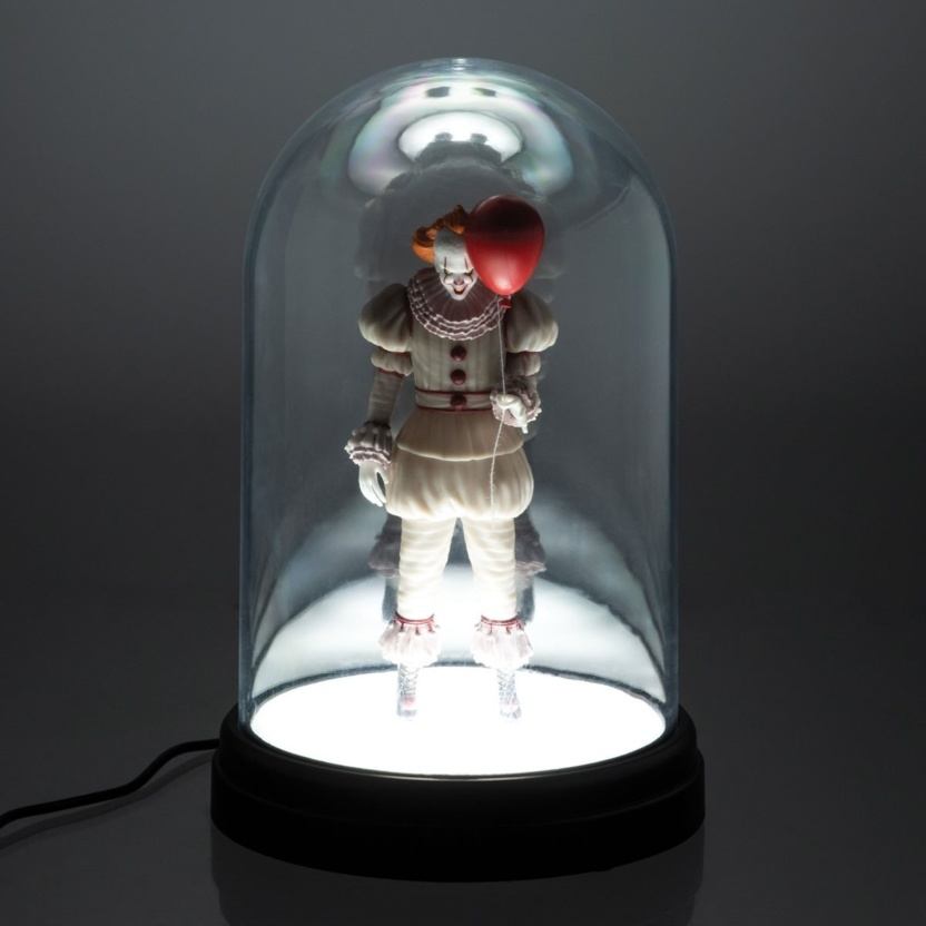 IT Pennywise Bell Jar Light - USB powered LED lit Pennywise in clear dome lit front