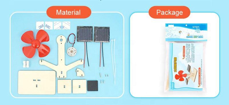 Solar powered fan science kit/model parts