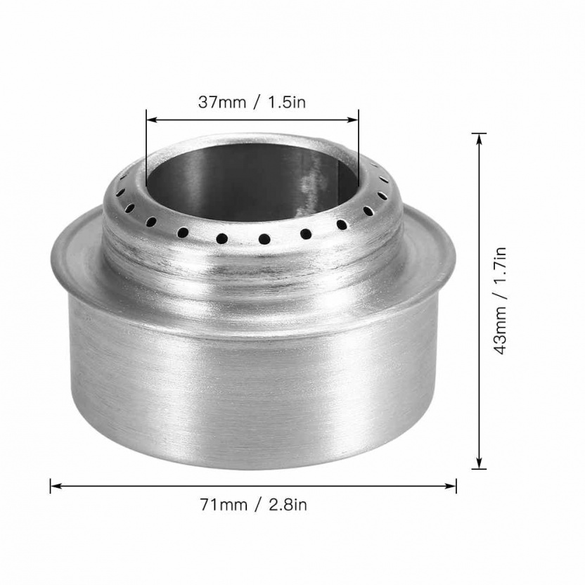 "Aluminum Alloy ""Cat Can"" Portable Hiking Survival Cooking Stove measurements"