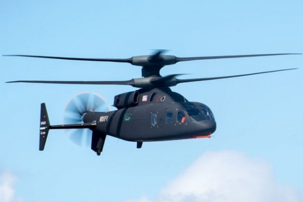 Defiant X helicopter flying front view