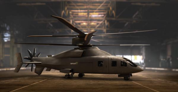 Defiant X helicopter in hanger