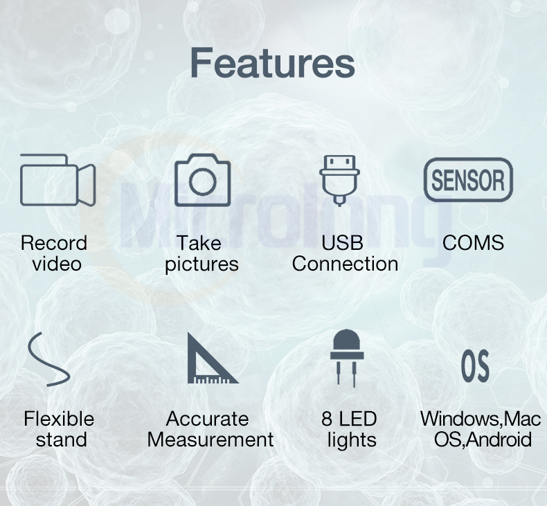 Electronic LED illuminated digital USB 50X-1000X microscope for PC and Android features