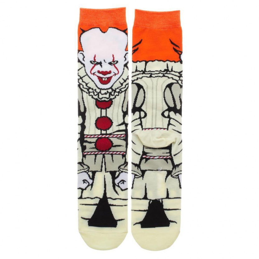 It Pennywise socks - Bioworld IT Pennywise 360 Character Crew Socks flat