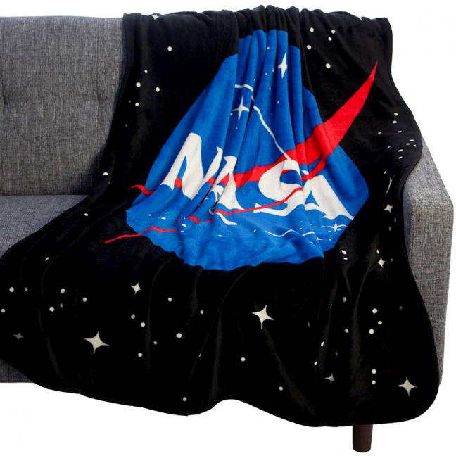 NASA blanket - Coral Fleece Throw NASA Icon Plush Throw Blanket on couch