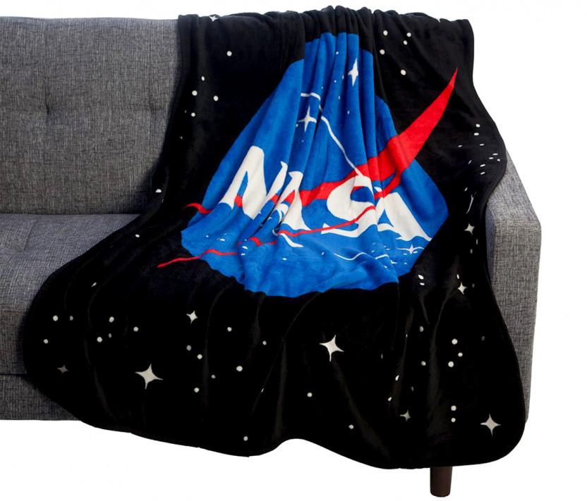NASA blanket - Coral Fleece Throw NASA Icon Plush Throw Blanket on couch
