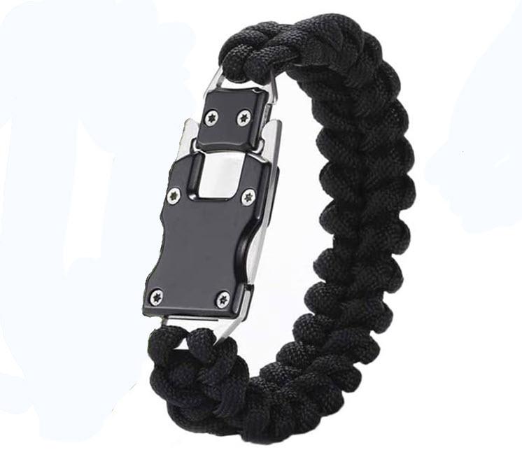 Paracord Bracelet Tactical Knife - Emergency Survival Bracelet with Concealed or Extended Knife Blade closed blade hidden