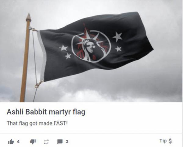 Right-wing extremists Ashli Babbit martyr flag