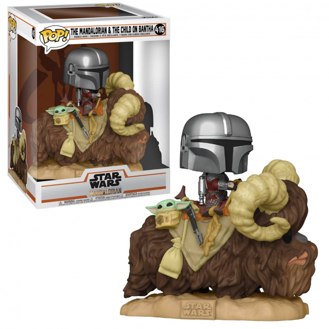The Mandalorian on Bantha carrying The Child in Bag Deluxe Funko Pop Figure with box