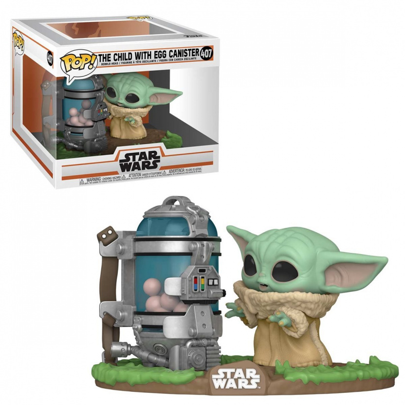 Baby Yoda with Egg Canister Funko Pop - Mandalorian The Child Deluxe Vinyl Figure 407 with box