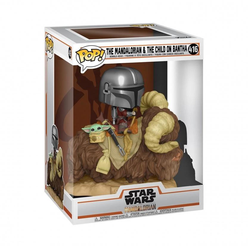 Mandalorian on Bantha with Baby Yoda Funko Pop figure 416 in box