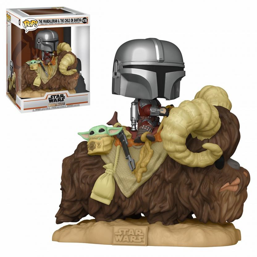 Mandalorian on Bantha with Baby Yoda Funko Pop figure 416 with box