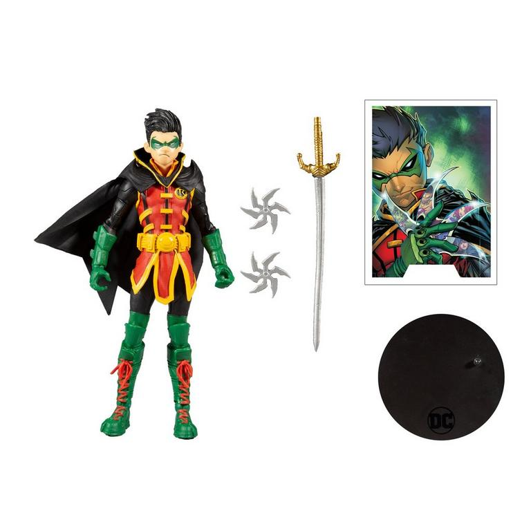 McFarlane Damian Wayne Robin 7-Inch Action Figure stand and weapons