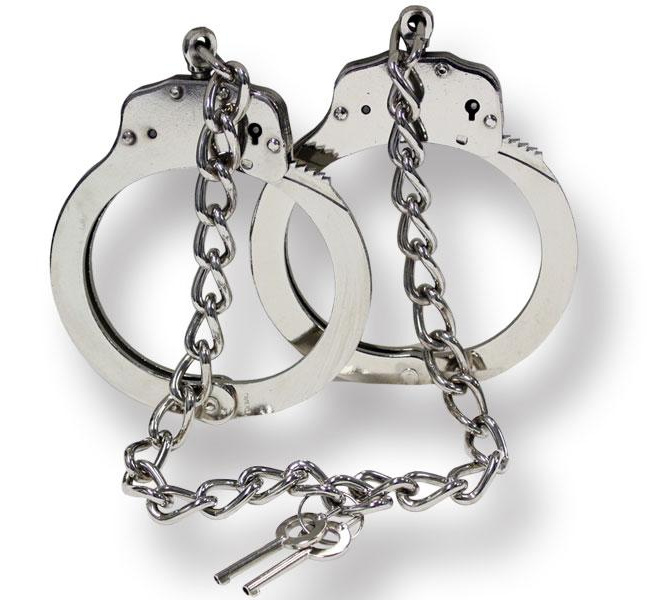 Silver Chrome Double-Lock Hinged Leg Cuffs with 2 Keys