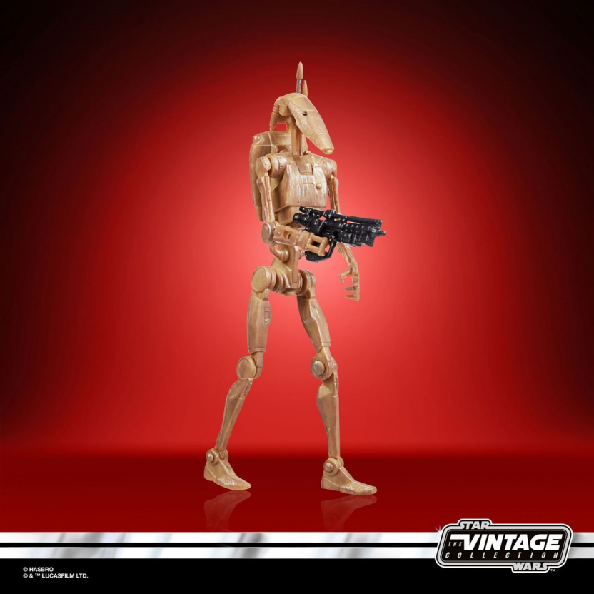 Star Wars The Vintage Collection 2020 Action Figures Wave 5 - Battle Droid side with gun