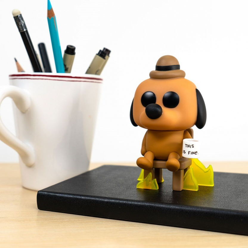 This is Fine Dog Funko Pop! Vinyl Figure #56 - on desk