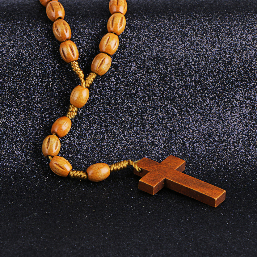 Wooden/Metal Rosary Cross Necklace Carved Wood close