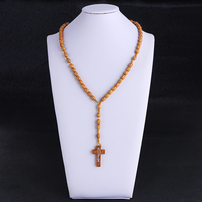 Wooden/Metal Rosary Cross Necklace Carved Wood on board