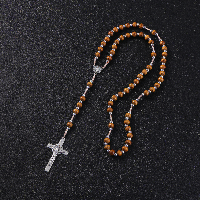 Wooden/Metal Rosary Cross Necklace Wood and silver beads + metal pendant 2