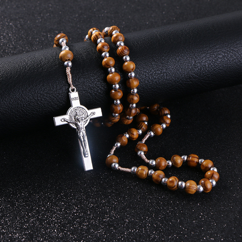 Wooden/Metal Rosary Cross Necklace Wood and silver beads + metal pendant close 2