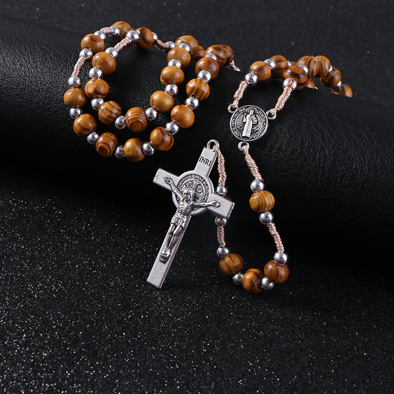 Genuine Handmade Vintage Wooden/Metal Rosary Beads/Prayer Beads Cross Necklace (4 styles) Wood and silver beads + metal pendant close 3