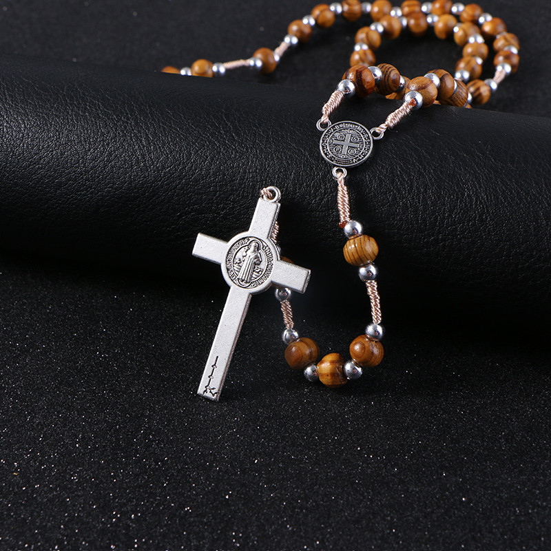 Wooden/Metal Rosary Cross Necklace Wood and silver beads + metal pendant close