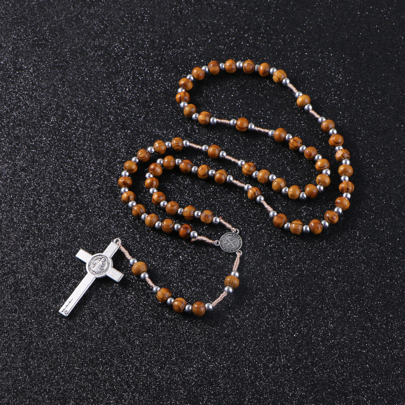 Wooden/Metal Rosary Cross Necklace Wood and silver beads + metal pendant