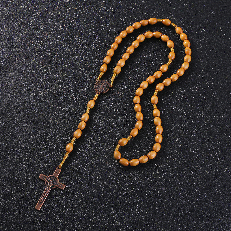 Wooden/Metal Rosary Cross Necklace Wood with Metal Pendant 2