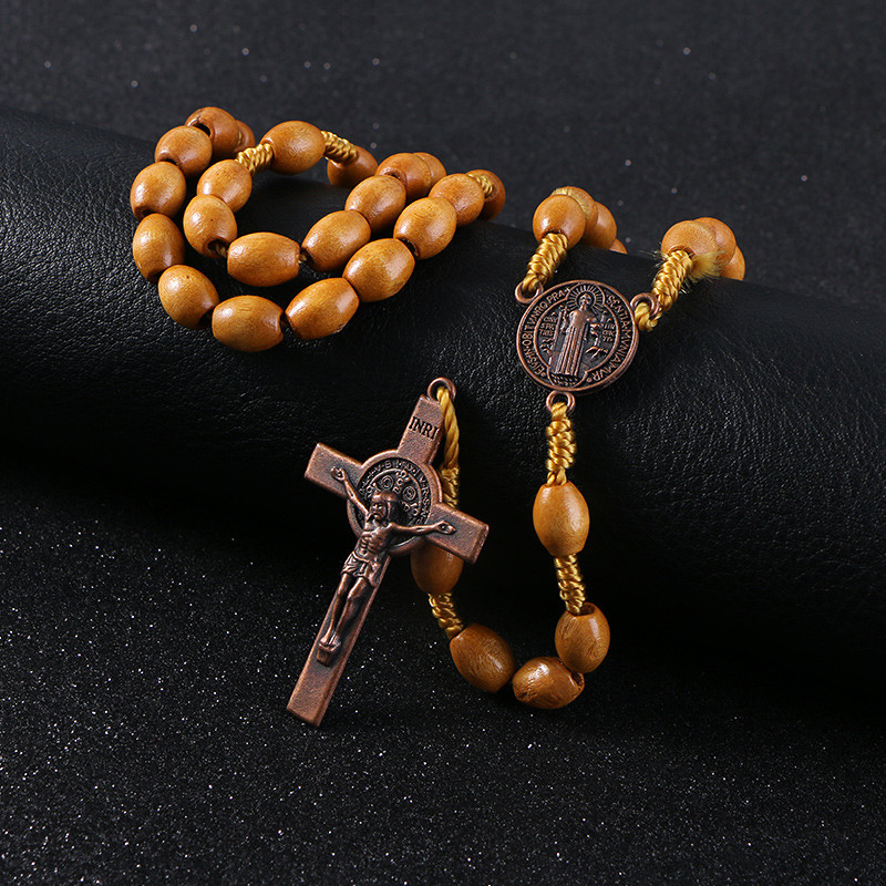 Wooden/Metal Rosary Cross Necklace Wood with Metal Pendant