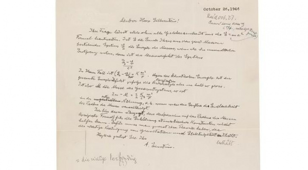 Albert Einstein letter containing famous E=MC2 equation in his own hand