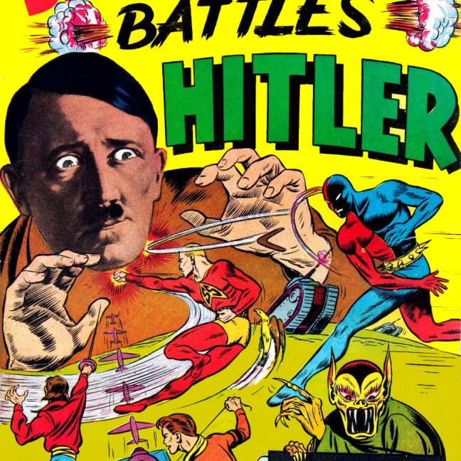 Daredevil Battles Hitler #1Daredevil is a fictional superhero that starred in comics from Lev Gleason Publications during the 1930s–1940s period historians and fans call the Golden Age of comic books. The character is unrelated to Marvel Comics' Daredevil. As a child, Bart Hill had been rendered mute by the shock of seeing his father murdered and himself being branded with a hot iron. Orphaned, he grew up to become a boomerang marksman, in homage to the boomerang-shaped scar left on his chest. Like Batman, introduced a year earlier, he took up a costume to wage vigilante vengeance.[2] Editor Jack Cole, who would create the classic Plastic Man a year later, revamped the character in the next issue and pitted him against Silver Streak's lead character, the villainous Claw, for a five-issue battle that made Daredevil a star.[3]
