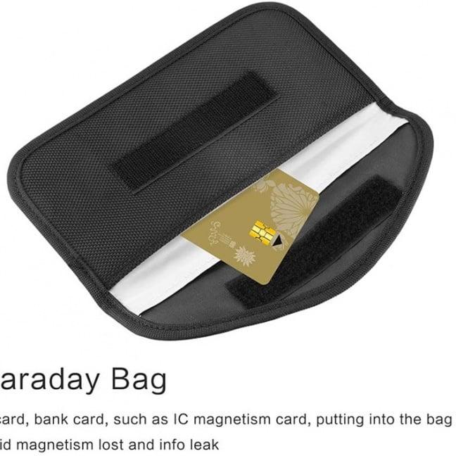 Faraday bag - RFID radio signal blocking shielded case with card
