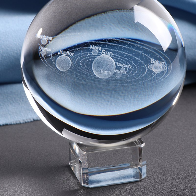 3D Laser engraved Solar System Crystal Ball with glass stand close