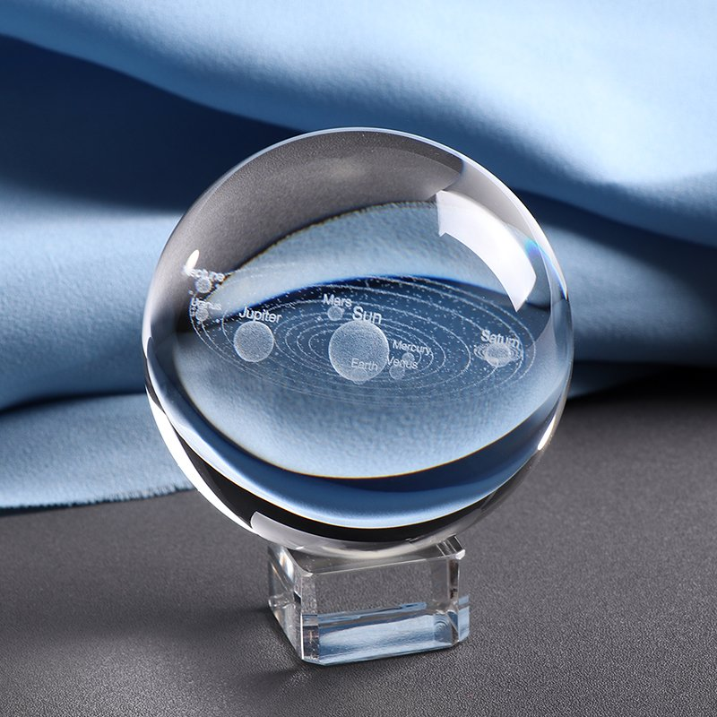 3D Laser engraved Solar System Crystal Ball with glass stand