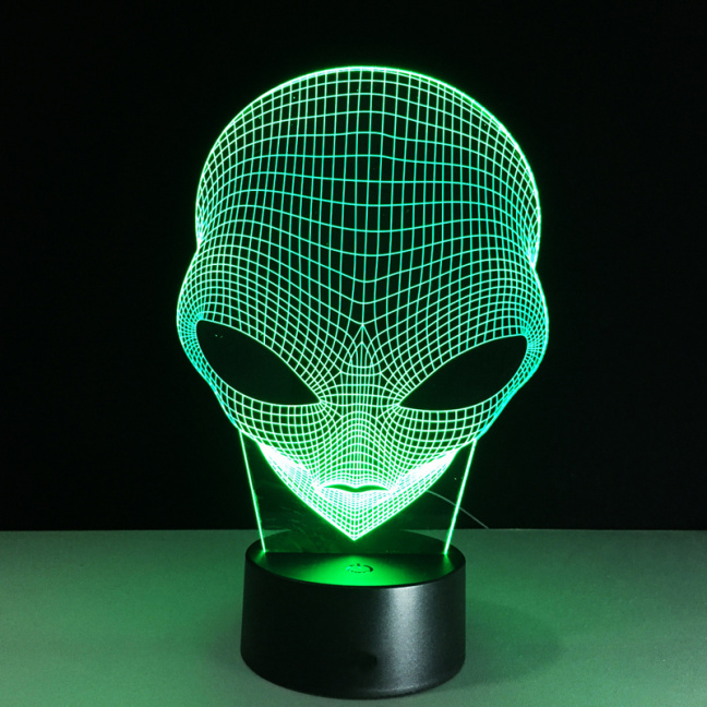 Alien Head Etched Acrylic Color Changing Night Light - green