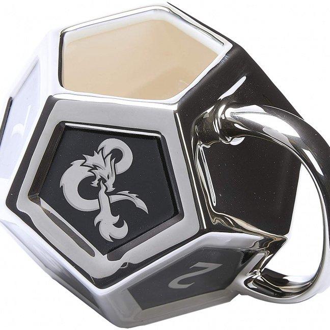 Dungeons & Dragons D12 Mug with D20 Sticker close