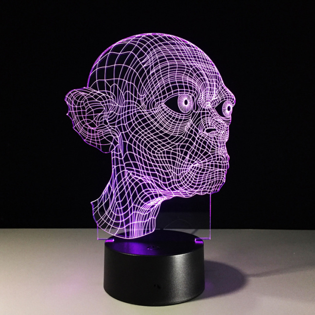 Gollum Lord of the Rings Etched Acrylic Color Changing Night Light - Purple