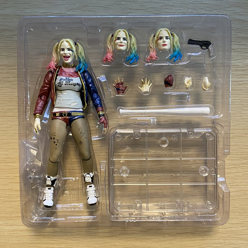 Harley Quinn 6-inch figure with exchangeable parts and accessories in box