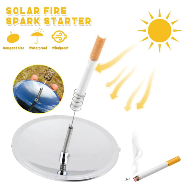 Parabolic mirror solar fire starter/lighter diagram