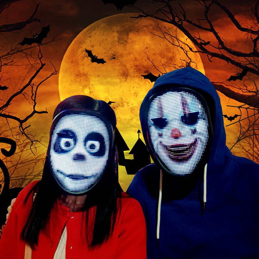 Programmable LED light mask - couple at Halloween