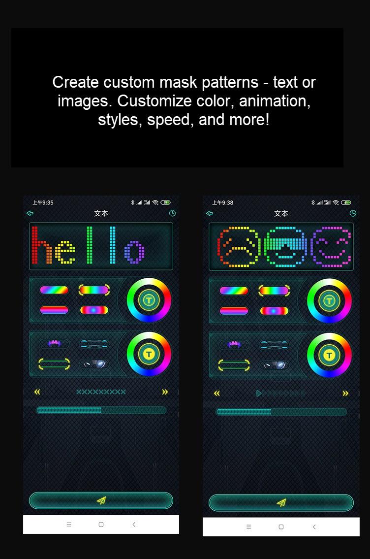 Programmable LED light mask - custom text