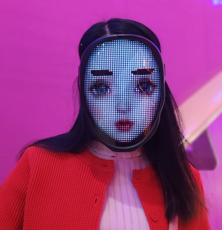 Programmable LED light mask - girl face close