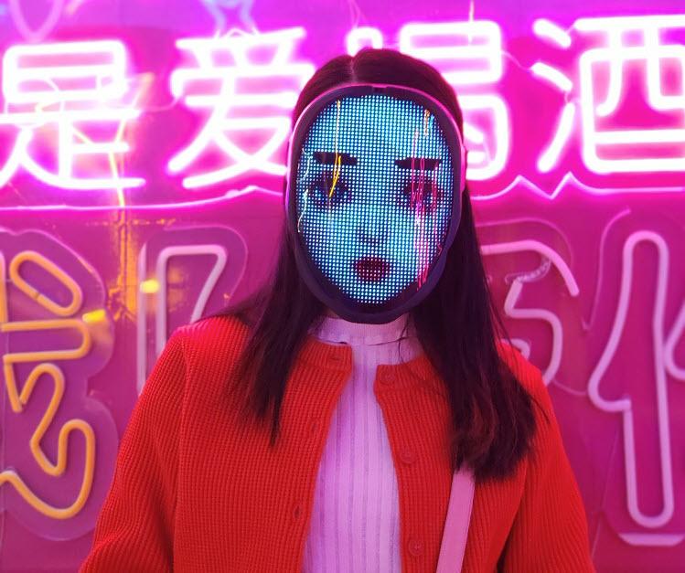 Programmable LED light mask - girl face