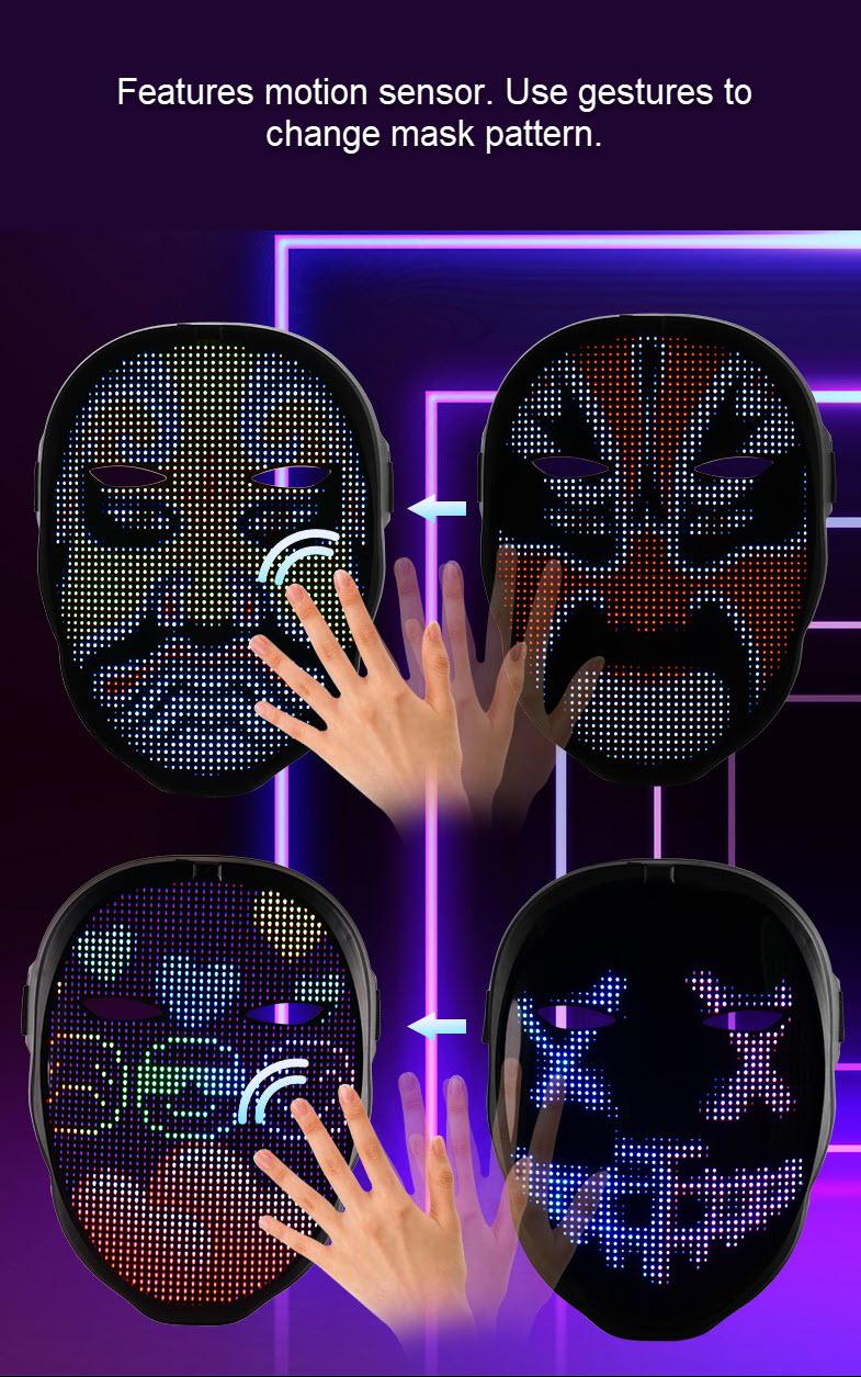 Programmable LED light mask - motion sensor