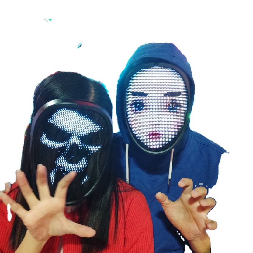 Programmable LED light mask - scary and girl face