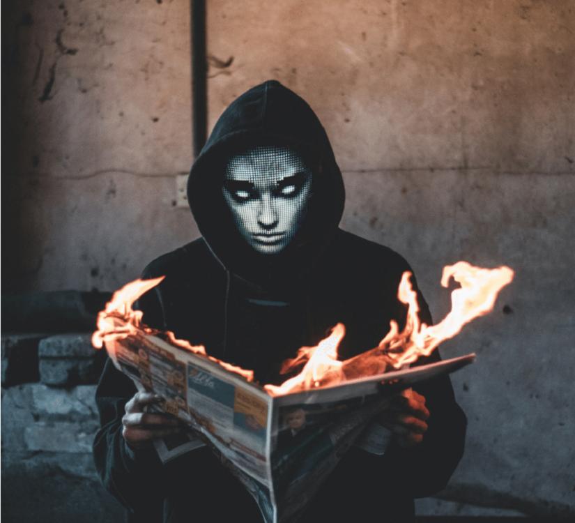 Programmable LED light mask - scary human face