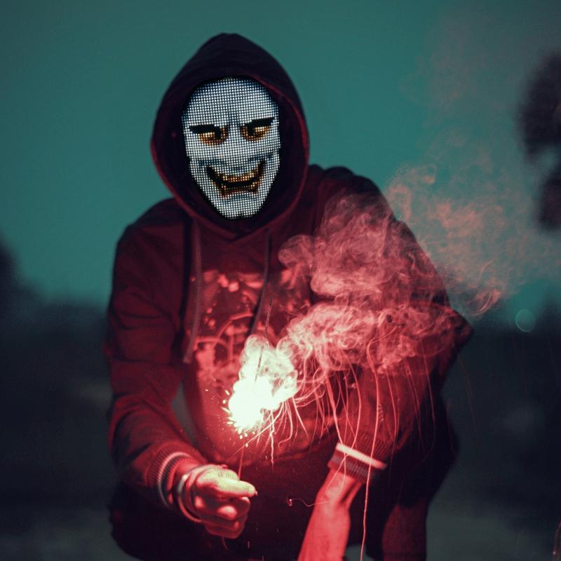 Programmable LED light mask - scary monster face