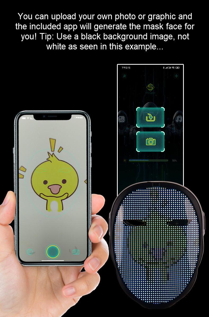 Programmable LED light mask - uploading custom graphic