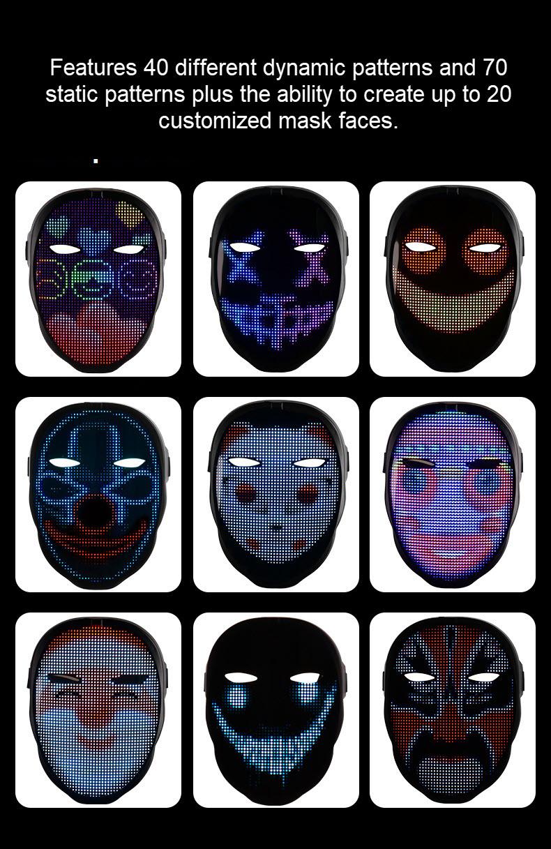 Programmable LED light mask - various face mask patterns