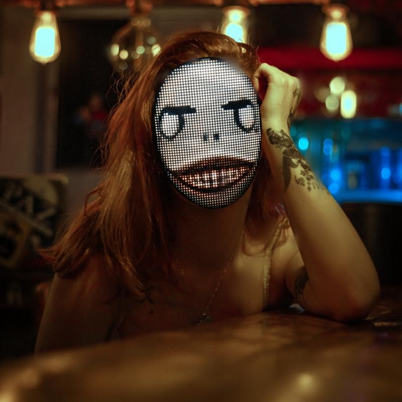 Programmable LED light mask - weird face